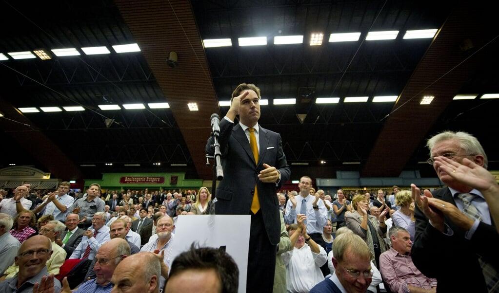 Oud-minister Camiel Eurlings op het CDA-congres in oktober 2010 over de gedoogconstructie met de PVV.  (beeld anp / Valerie Kuypers)