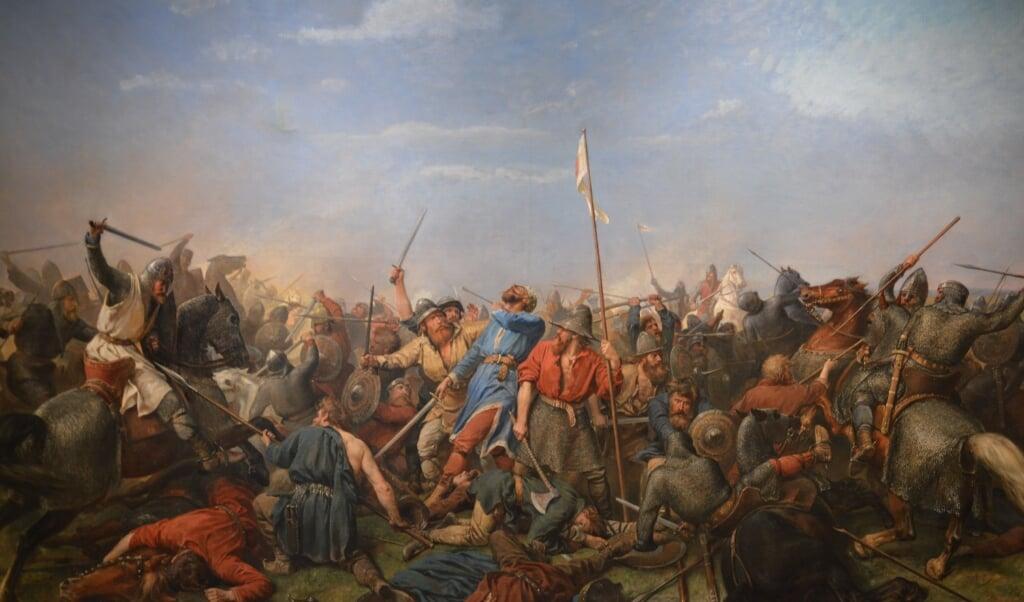 Een schilderij van Peter Nicolai Arbo van de Slag bij Stamford Bridge, 1870.  (beeld nd)