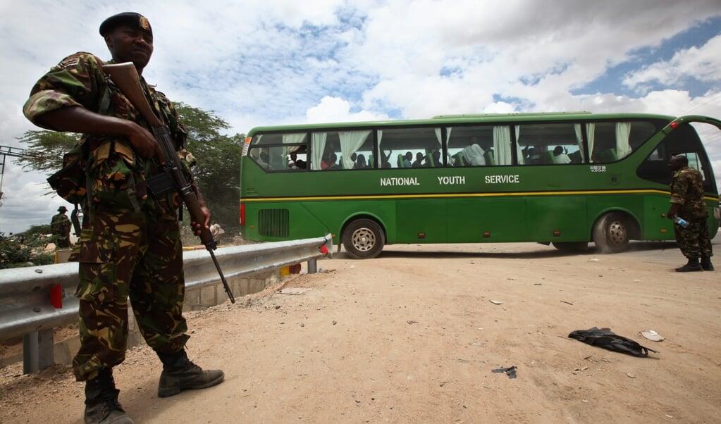 De Somalische terreurbeweging Al-Shabaab heeft vaker bloedige aanslagen uitgevoerd in buurland Kenya. In 2015 vond een bloedbad plaats op de Garissa Universiteit die veel christelijke studenten heeft.  (epa)