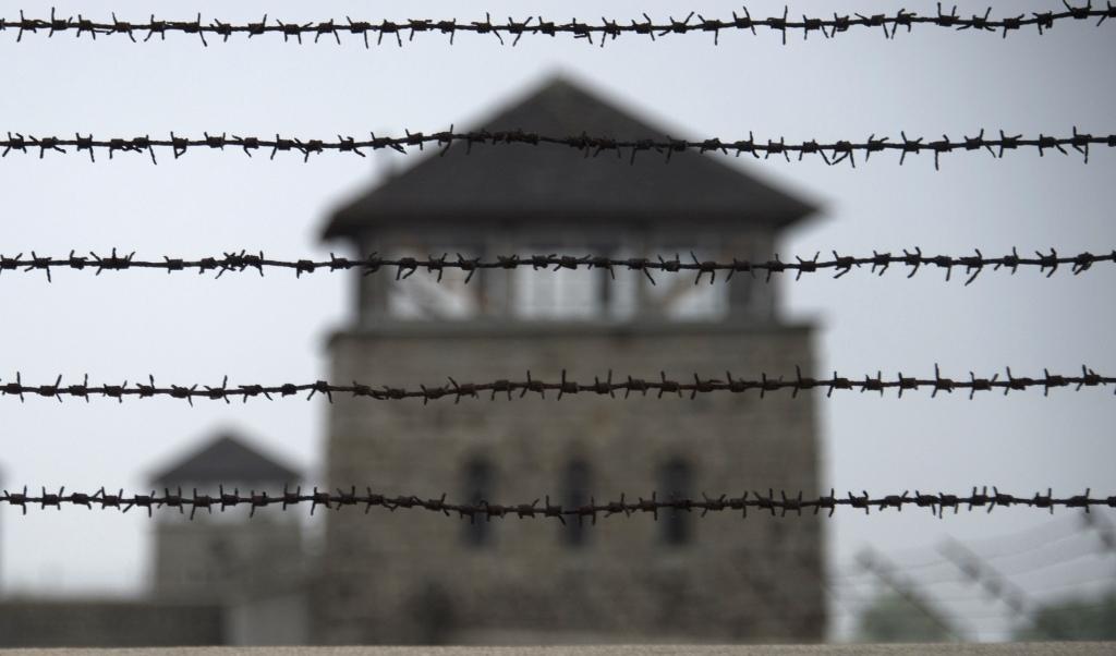 Beeld van concentratiekamp Mauthausen, gelegen in de Oostenrijkse deelstaat Opper-Oostenrijk.  (beeld afp / Joe Klamar)