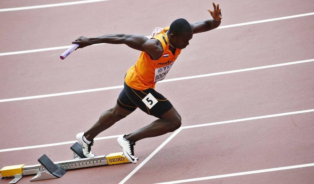 Solomon Bockarie op de 400 meter horden tijdens de Olympische Spelen van Peking.  (beeld epa / Jeon Heon-Kyun)