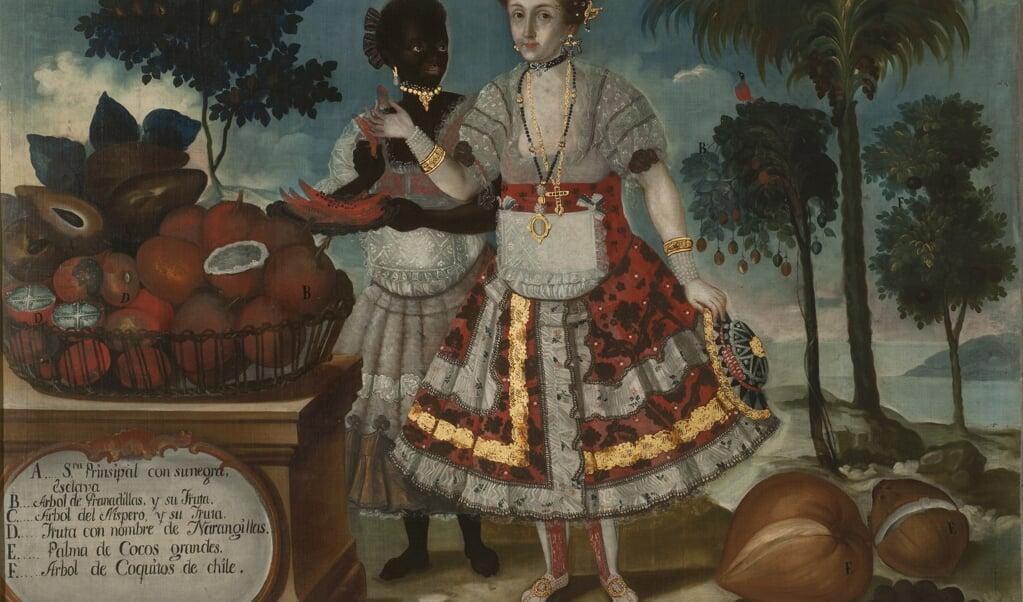 Rijke Spaanse koloniste met slavin, een schilderij van Vicente Alban uit de collectie van het Museo de las Américas in Madrid.  (beeld wikipedia)