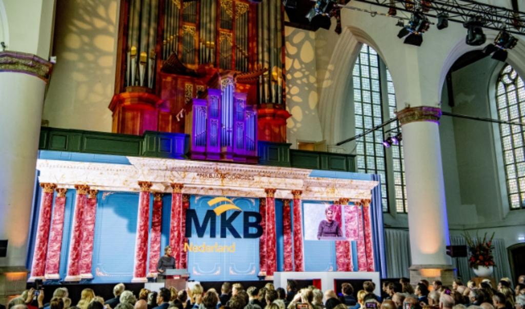 Koningin Máxima opent in 2018 het Jaarcongres van MKB-Nederland in de Grote Kerk.  (beeld anp royal images)