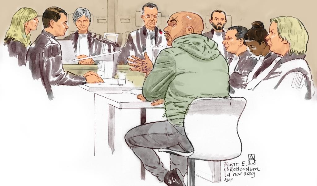 Rechtbanktekening van Bekir E.  (beeld anp / Aloys Oosterwijk)