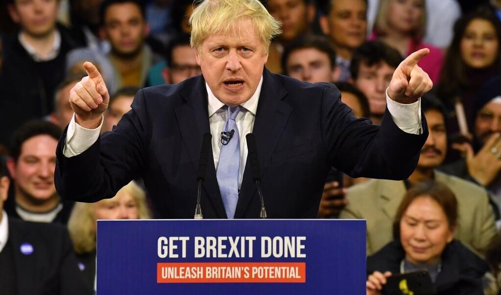 Premier van Groot-Brittannië Boris Johnson tijdens zijn verkiezingscampagne, waarvan de brexit expliciet onderdeel was.  (afp)