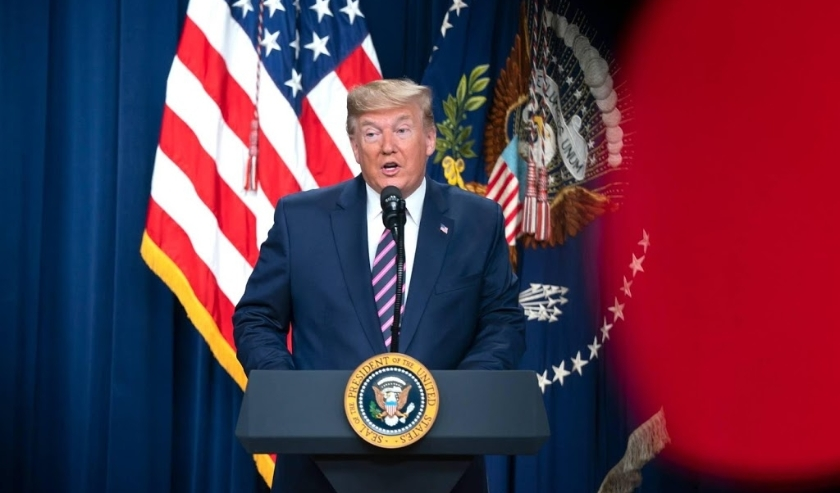 2019-12-12 12:40:36 epa08066015 US President Donald J. Trump speaks at a White House summit on child care and paid family leave in the Eisenhower Executive Office Building in Washington, DC, USA, 12 December 2019. As the president spoke, the House Judicia  ( beeld anp)