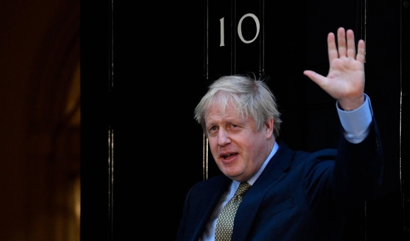 2019-12-13 16:03:40 epa08069165 Britain's Prime Minister Boris Johnson delivers a speech at 10 Downing Street in London, Britain, 13 December 2019. Britons went to the polls for a general election on 12 December 2019, which the Conservative Party led by J  ( beeld anp)