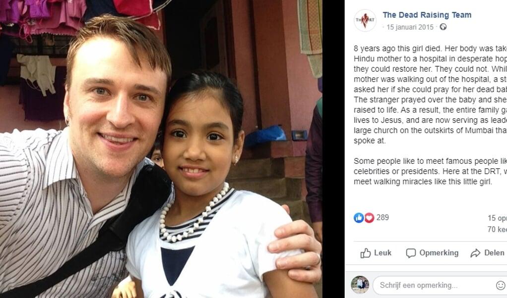 De tweejarige Olive; voor haar opwekking wordt gebed gevraagd. Rechts: het 'Dead Raising Team', opgericht vanuit de Bethel Church, vertelt op Facebook over dit meisje dat in 2007 als baby uit de dood zou zijn opgewekt.  ( beeld bethel church and dead raising team)