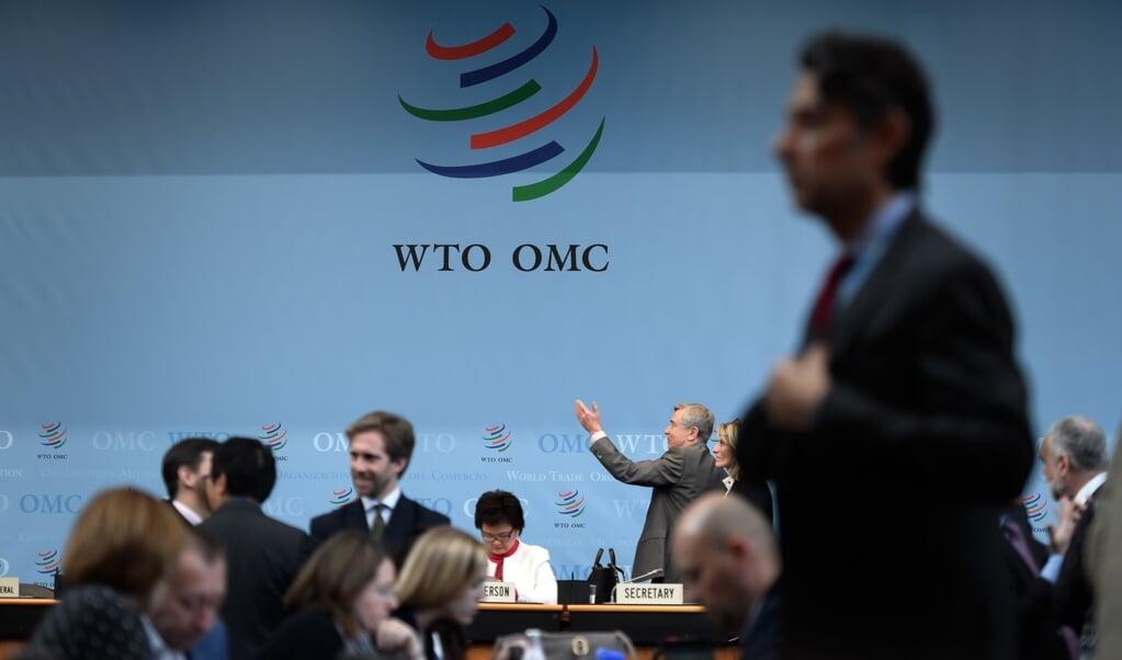 Leden van de wereldhandelsorganisatie WTO bijeen in Genève.   (beeld afp / Fabrice Coffrini)