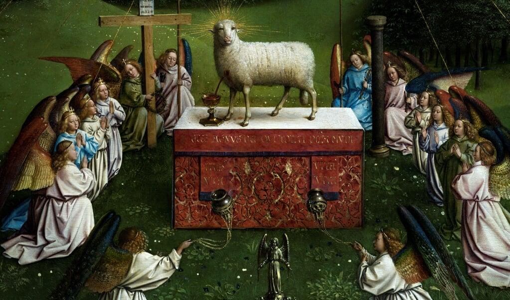 De restauratie van het Lam Gods vond plaats in het Gentse Museum voor Schone Kunsten.  (beeld afp / Kenzo Tribouillard)
