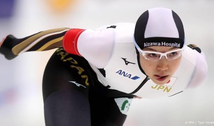 2019-12-06 18:14:36 epa08049326 Nao Kodaira of the Japan in action during the women's 1000m race of the ISU Speed Skating World Cup at Alau Stadium  in Nur-Sultan, Kazakhstan, 06 December 2019.  EPA/IGOR KOVALENKO  ( beeld anp)