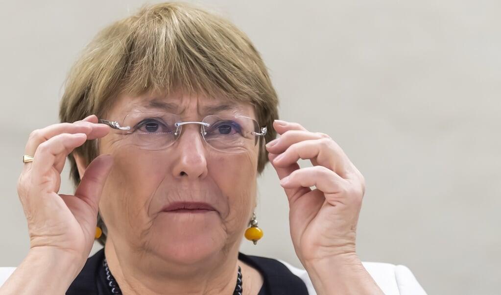 VN-Hoge commissaris voor de vluchtelingen Michelle Bachelet   (beeld  EPA/MARTIAL TREZZINI)