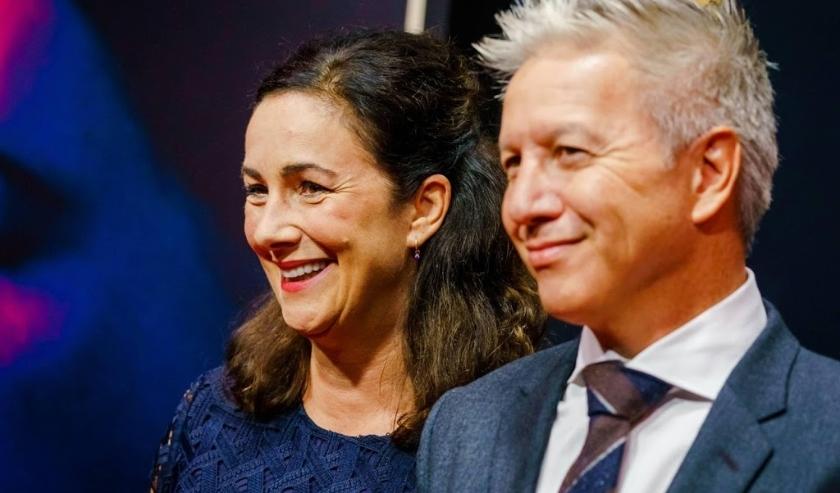 2019-09-27 20:03:21 UTRECHT - De Amsterdamse burgemeester Femke Halsema en haar partner Robert Oey op de rode loper voor de premiere van Instinct, de openingsfilm van het Nederlands Film Festival (NFF). Instinct is het regiedebuut van Halina Reijn, met Ca  ( beeld anp)