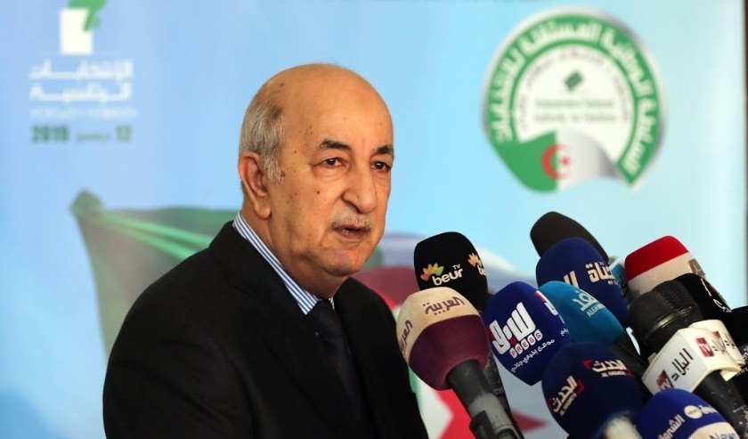 2019-10-26 10:13:36 epa07950848 Former Algerian Prime Minister Abdelmadjid Tebboune speaks after filing his candidacy file for upcoming presidential elections at the Independent National Electoral Authority, in Algiers, Algeria, 26 October 2019. President  ( beeld anp)