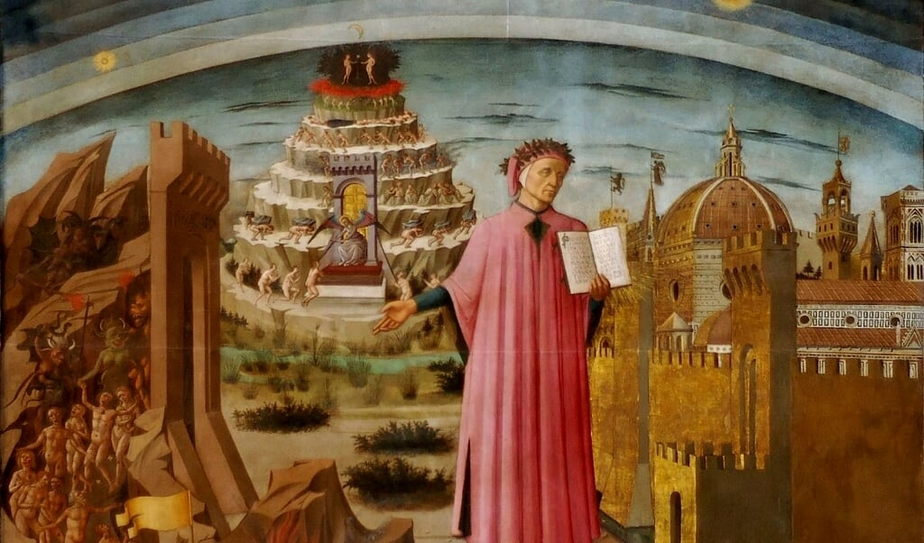Dante houdt La Divina Commedia vast. Portret door Domenico di Michelino, 1465.   (beeld nd)