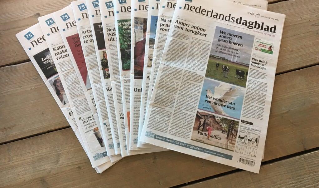 Het Nederlands Dagblad wordt maandag 8 februari vanwege het winterweer niet bezorgd.  (beeld nd)