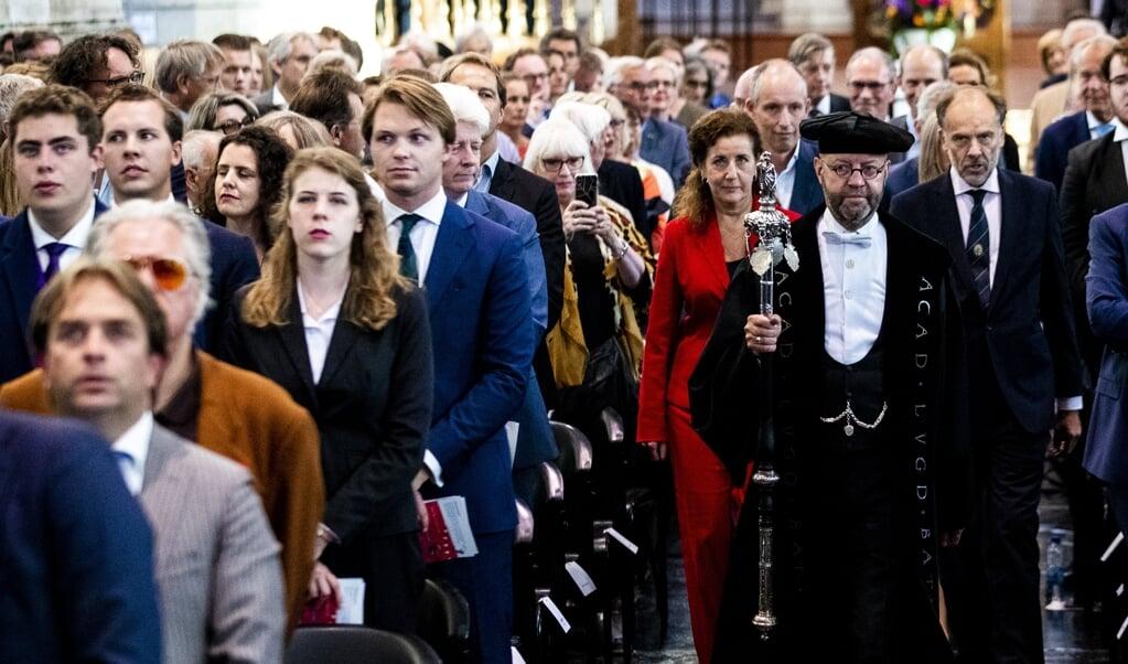 Minister Ingrid van Engelshoven van Onderwijs, Cultuur en Wetenschappen (D66) tijdens de opening van het academisch jaar in Leiden.   (beeld anp / Sem van der Wal)