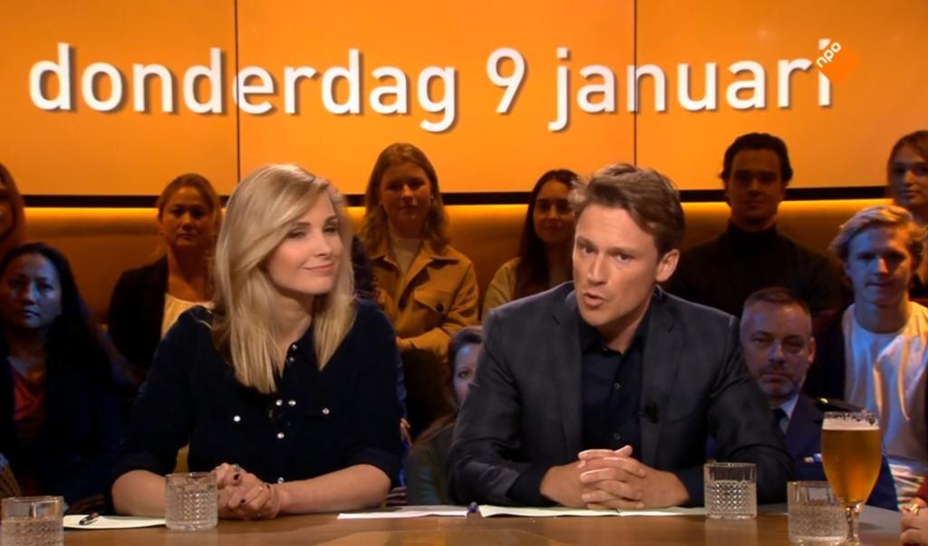 De presentatoren van donderdag: Welmoed Sijtsma en Sander Schimmelpenninck.  ( beeld Op1)