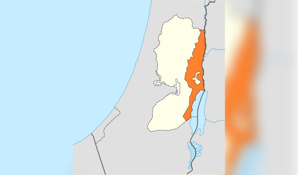 Annexatieplan volgens presentatie door  premier Netanyahu.  (beeld  )