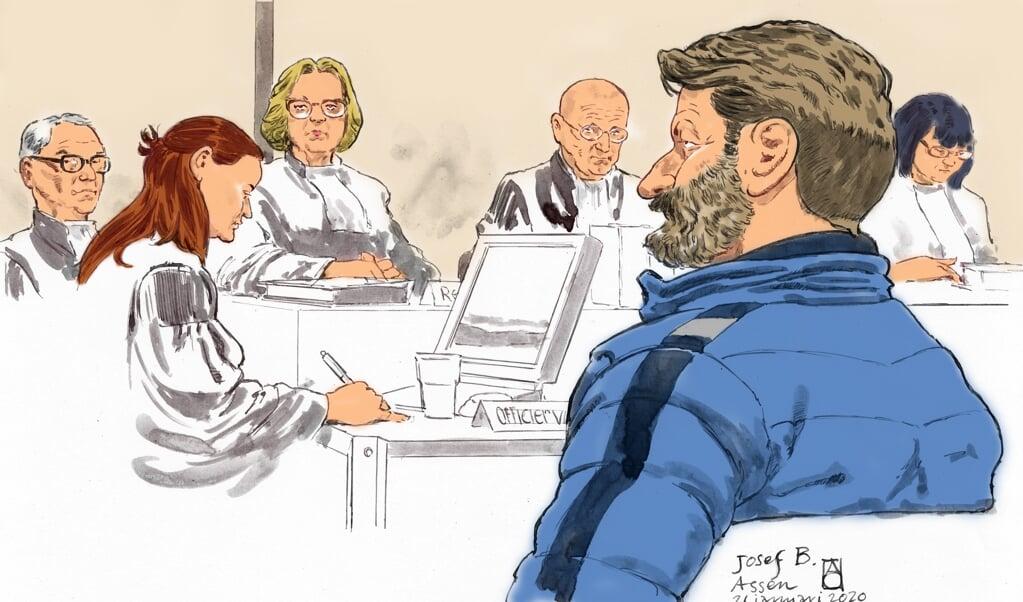 Rechtbanktekening van de Oostenrijkse Josef B. tijdens de eerste pro-formazitting in de strafzaak Ruinerwold.  (beeld  anp / Aloys Oosterwijk)