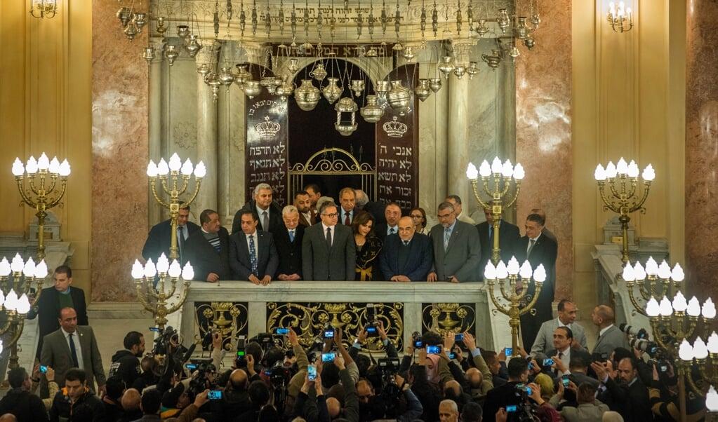 De heropeningsplechtigheid door minister Khaled al Anani van Oudheden (m).  (beeld René Clement)