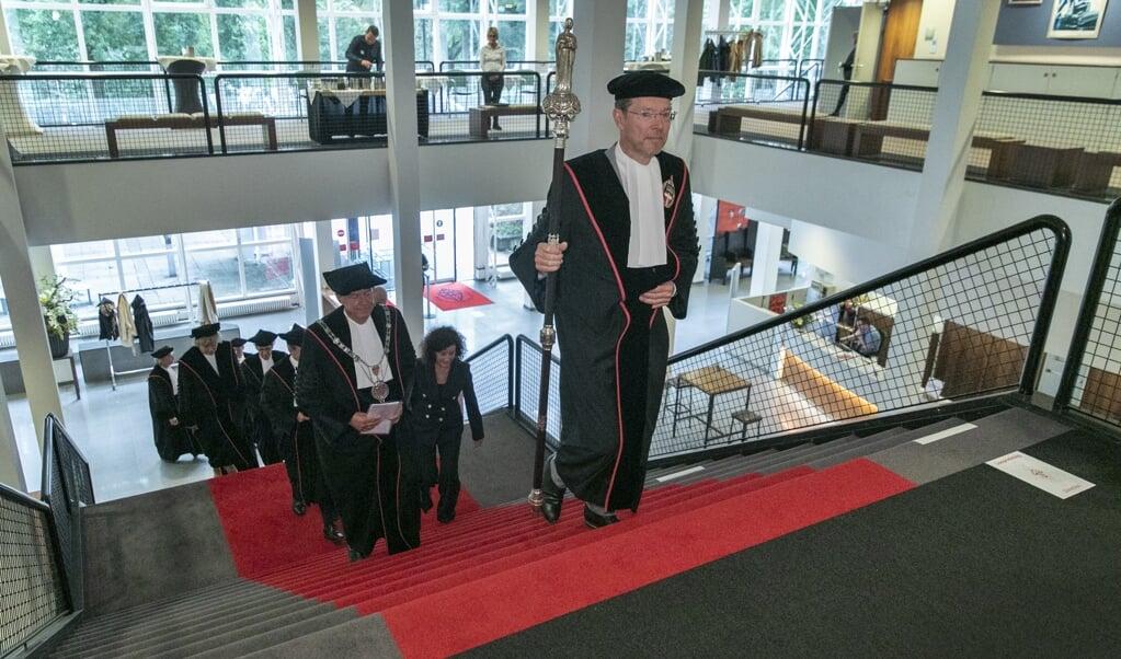 De opening van het academisch jaar aan de Radboud Universiteit Nijmegen, op 31 augustus dit jaar.  (beeld anp / Ronald Heitink)