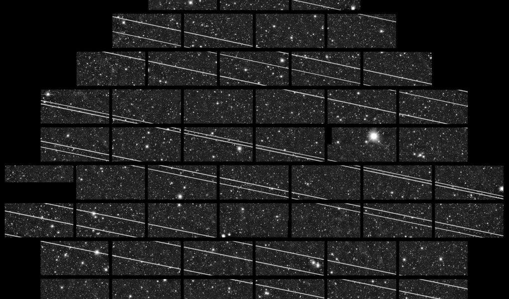 <p>Negentien passerende Starlink satellieten (de streepjes) tijdens een opname van 333 seconden door een telescoop in het noorden van Chili.</p>  (beeld ctio )