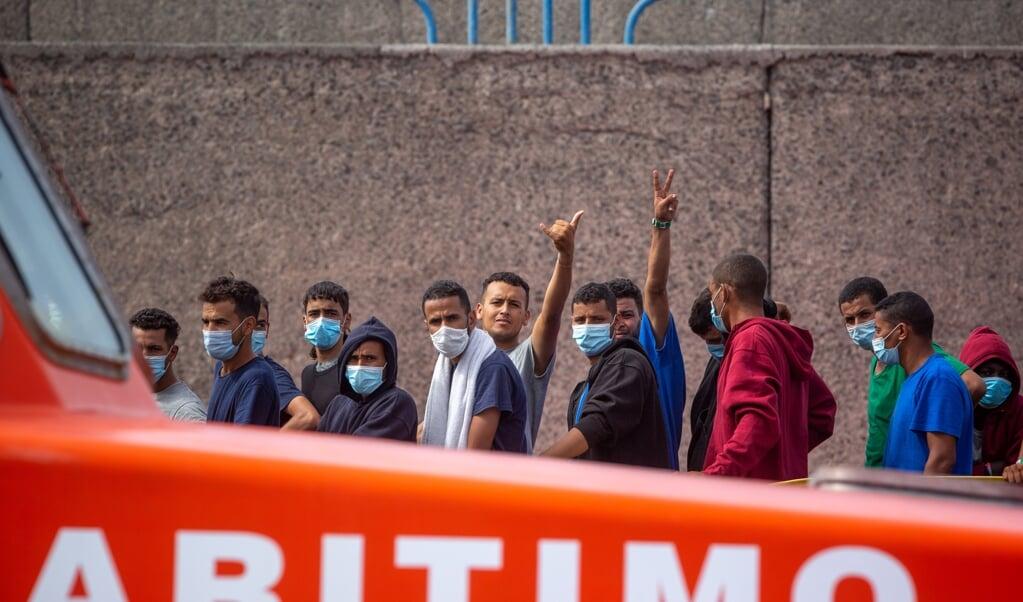 Migranten op Gran Canaria.   (beeld afp / Desiree Martin)
