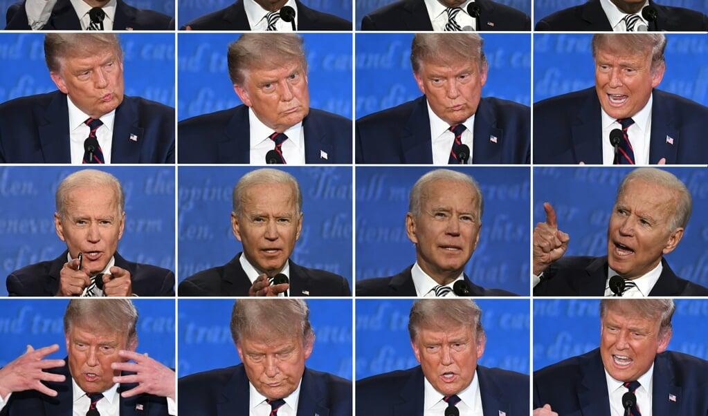 <p>Joe Biden en Donald Trump tijdens hun eerdere, veelbesproken debat op 29 september in Cleveland.</p>  (beeld afp / Jim Watson en Saul Loeb)