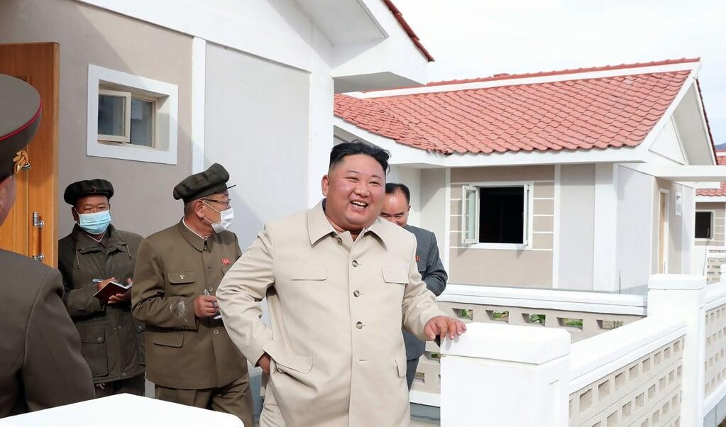 Noord-Koreaanse leider Kim Jong-un  (beeld kcna via kns / afp)