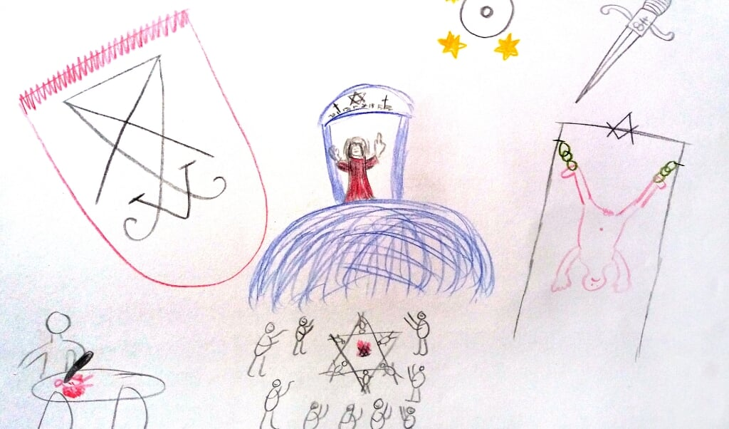 <p>Tekeningen van de cliënt van psycholoog Aline Terpstra over de gebeurtenissen in de cult.</p>  (beeld praktijk Aline Terpstra)