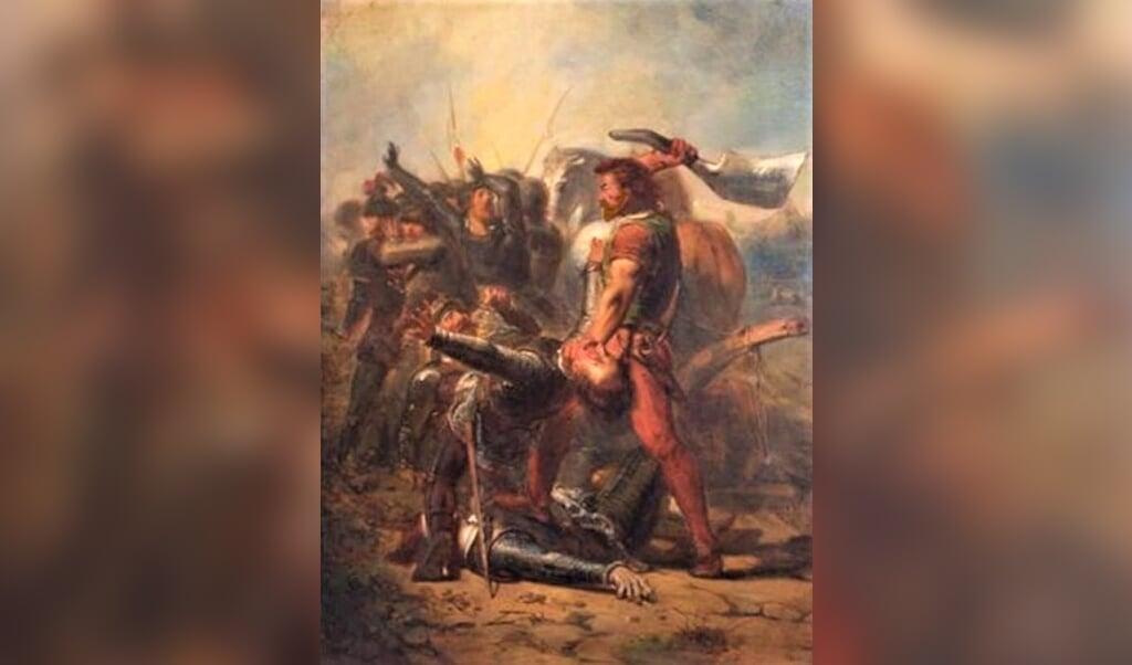 De dapperheid van Grote Pier, anno 1516, 19e-eeuws schilderij dat de strijd van Grote Pier verheerlijkt (Johannes Hinderikus Egenberger, olieverf op doek, Stadhuis Sneek)  (beeld wikimedia)