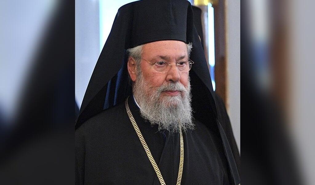 <p>Aartsbisschop Chrysostomos II van Cyprus.</p>  (beeld Wikipedia)