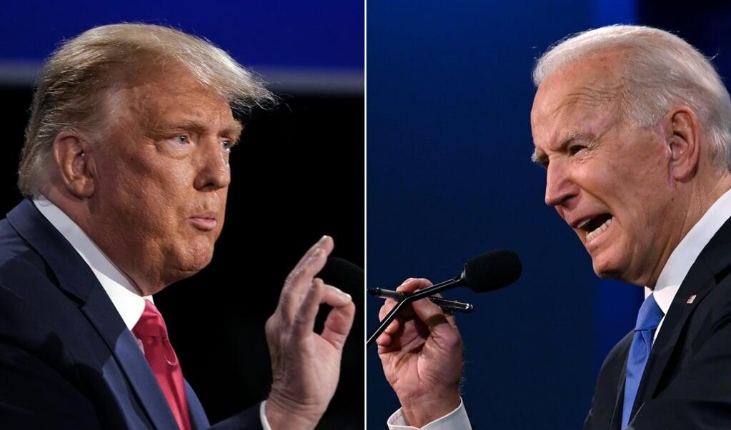 President Trump en voormalig vicepresident Joe Biden in hun tweede en laatste presidentiële debat.  (beeld afp / Jim Watson, Brendan Smialowski)