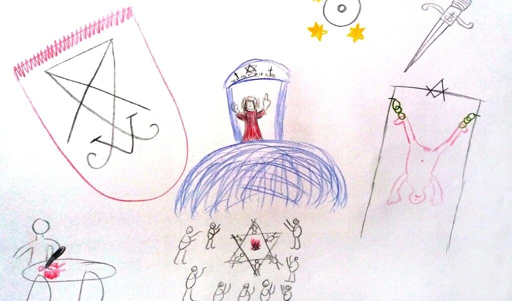 <p>Een tekening van een slachtoffer over satanisch seksueel misbruik.&nbsp;</p>  (beeld nd)