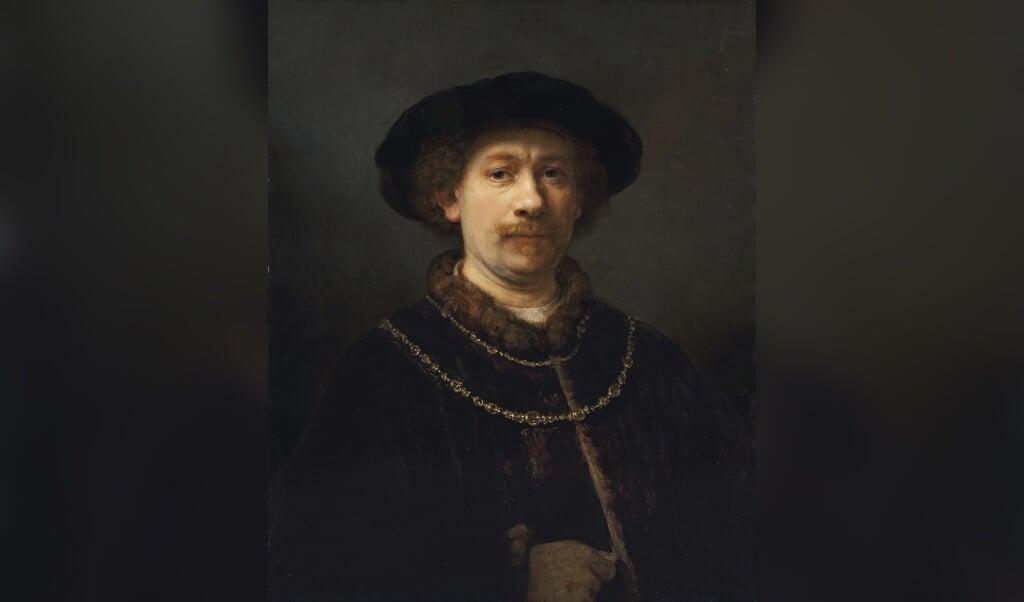 Zelfportret met gevederde hoed' (1635) van Rembrandt.  (beeld museo thyssen- bornemisza)