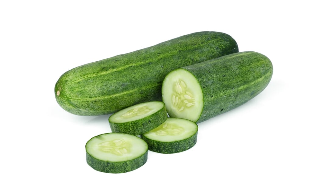 whole with slice cucumber isolated on white background  (beeld istock)