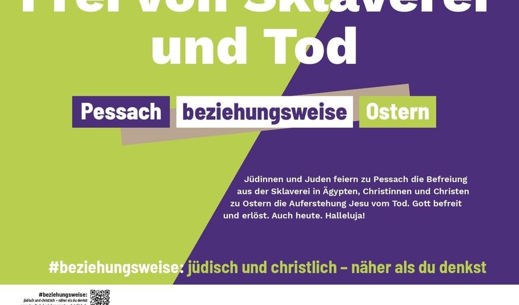 Een van de posters uit de campagne maakt duidelijk wat Pesach en Pasen met elkaar te maken hebben.  (beeld EKD)