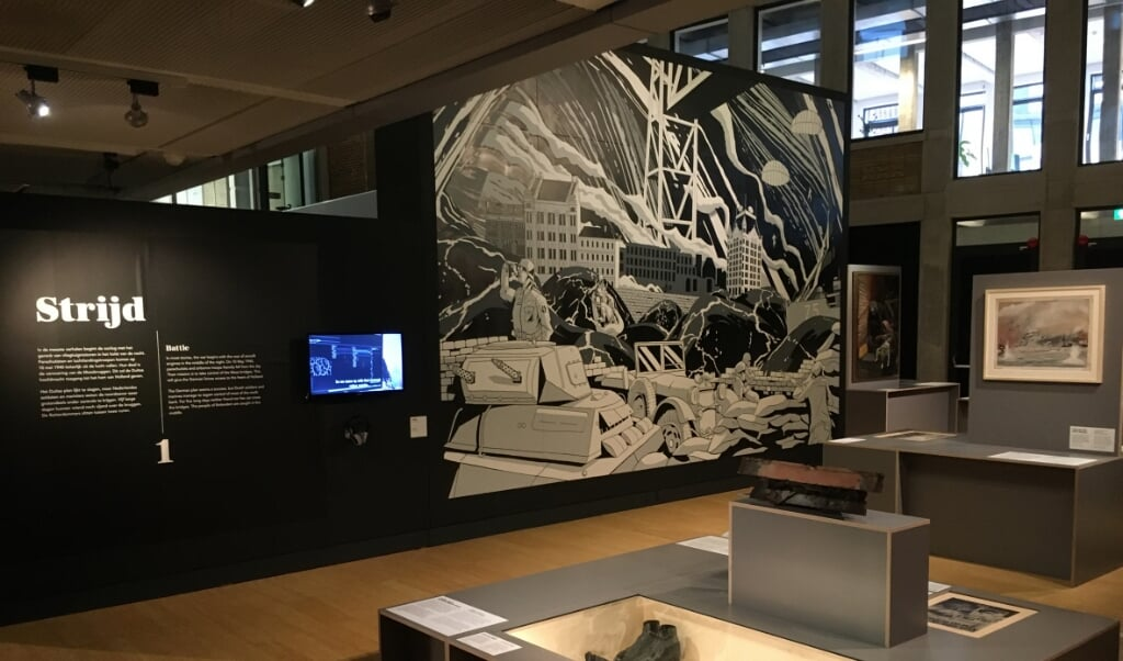 Museumopstelling van de deelexpositie 'Strijd'.  (beeld Arjan Glas en museum rotterdam)