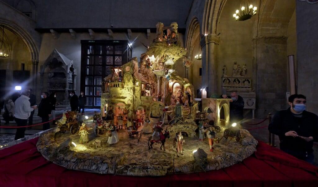 De pizza-kerststal in Napels.  (beeld epa / Ciro Fusco)