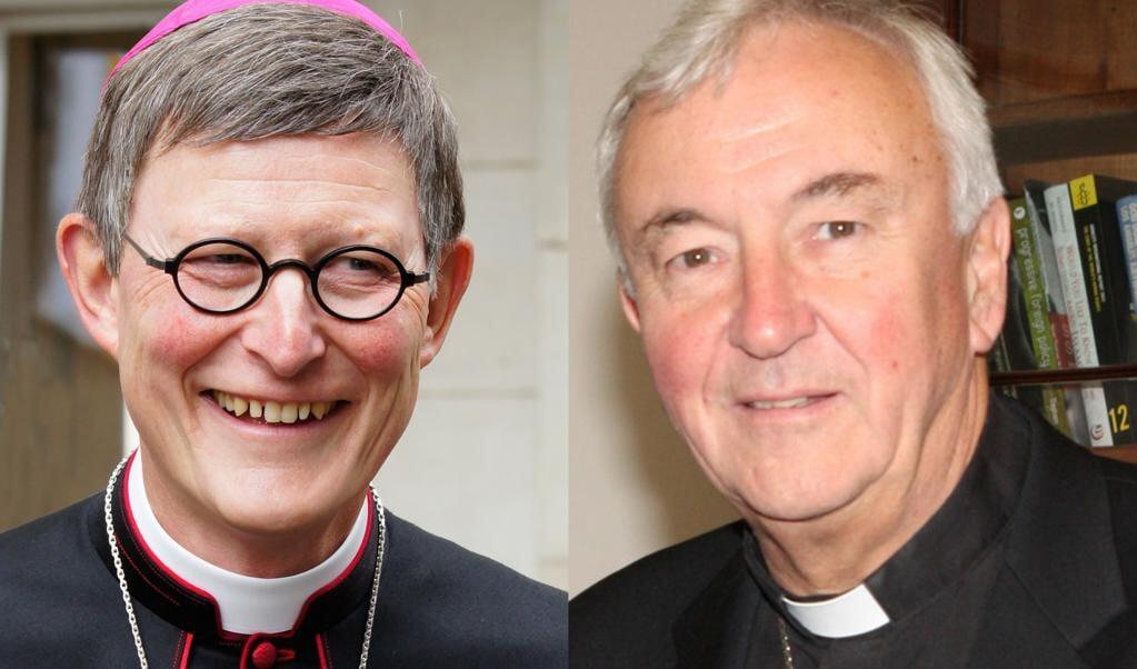 De kardinalen Rainer Maria Woelki (links) en Vincent Nichols (rechts)  (beeld wikipedia)