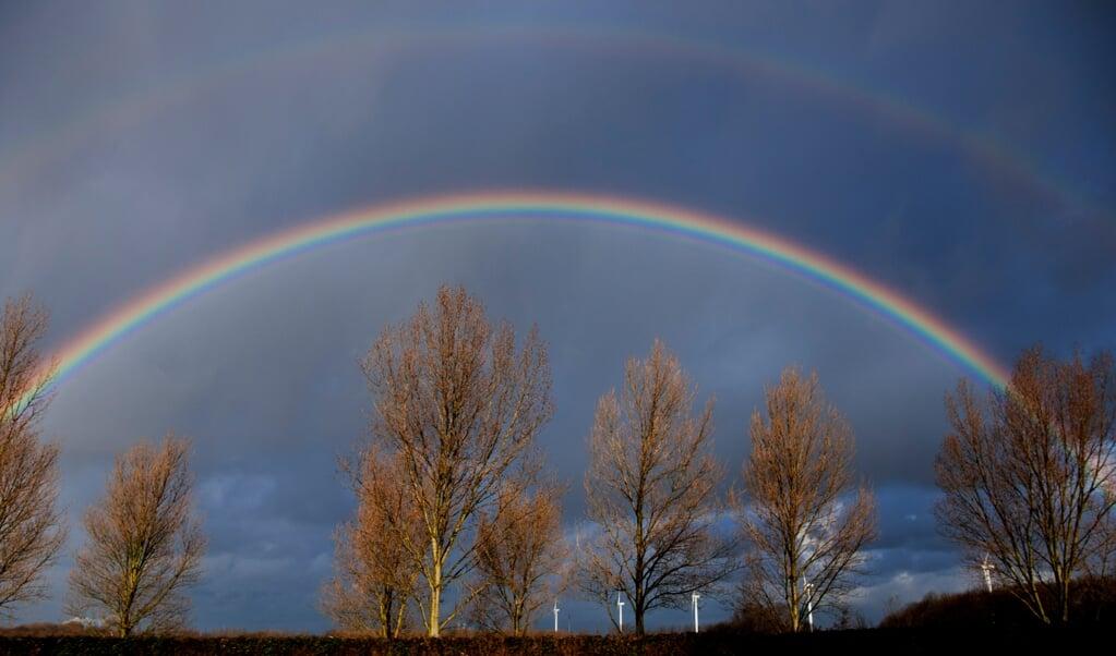 Mooi, dat juist tijdens de Kerstdagen de regenboog zo vaak te zien was.  (beeld anp / Robin Utrecht)
