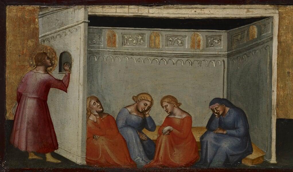 Nikolaas gooit goudstukken door het raam naar binnen bij een arm gezin met drie dochters. Een vijftiende-eeuws altaarschilderij van Lorenzo di Bicci uit Florence.  (beeld Indianapolis Museum of Art)