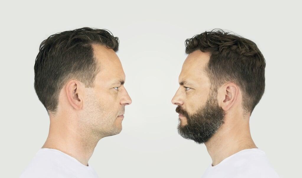 Een tweeling waarvan de een een baard heeft en de ander niet.  (beeld Gunnar Svanberg Skulason)