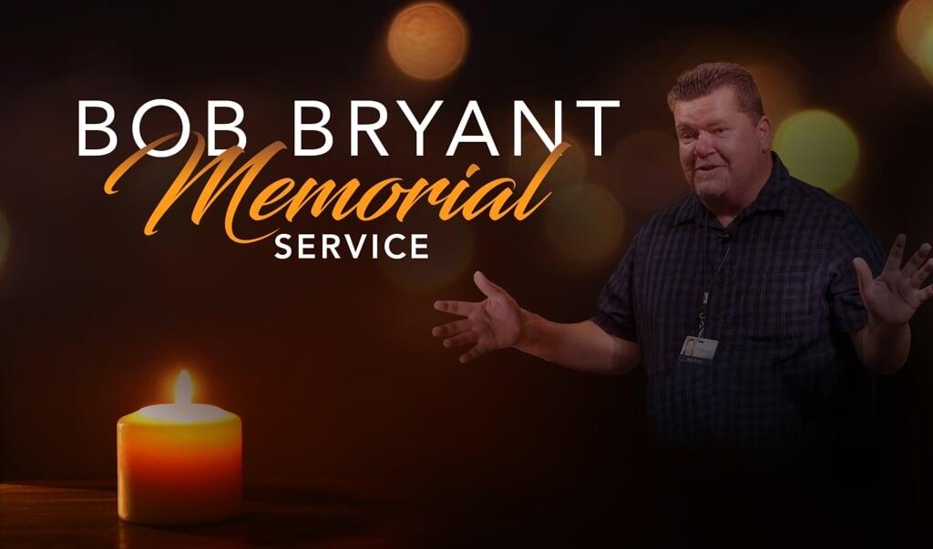 Uitnodiging voor herdenkingsdienst voor pastor Bob Bryant van Water of Life Community Church in Californië die overleed aan corona.   (beeld Water of Life Community Church)