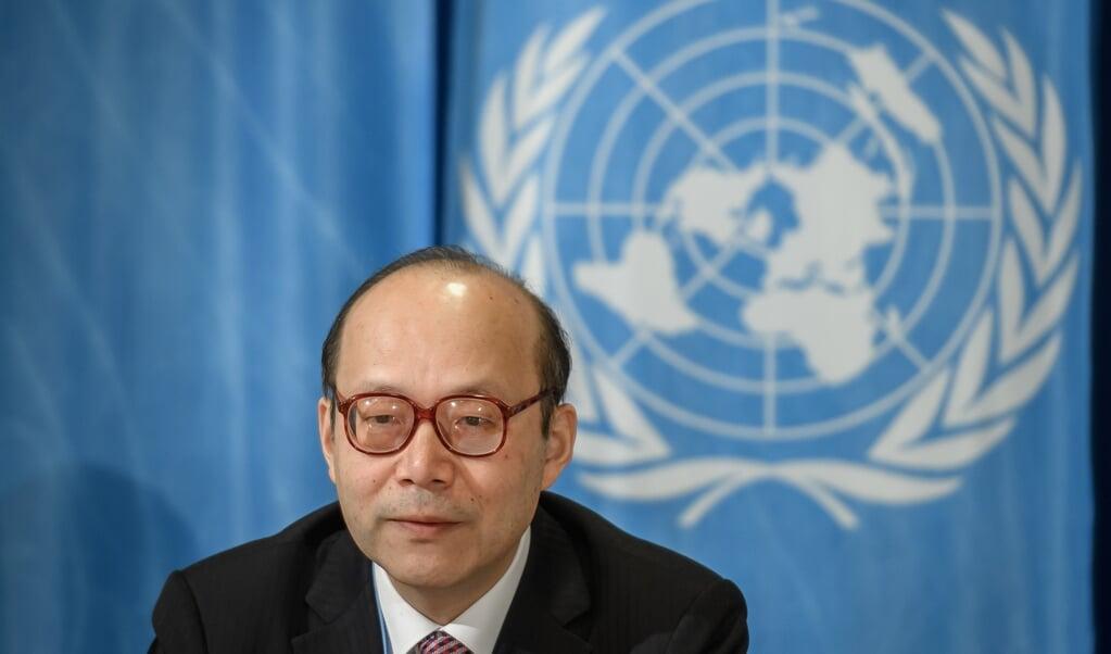 De Chinese ambassadeur bij de VN, Chen Xu.  (beeld afp / Fabrice Coffrini)