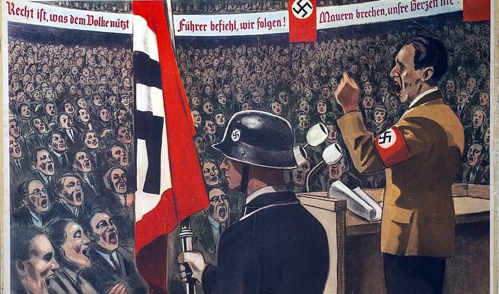 Een schoolplaat van de toespraak van propagandaminister Joseph Goebbels in het kolossale Sportpalast in Berlijn op 30 januari 1943.  (beeld Universität Würzburg)