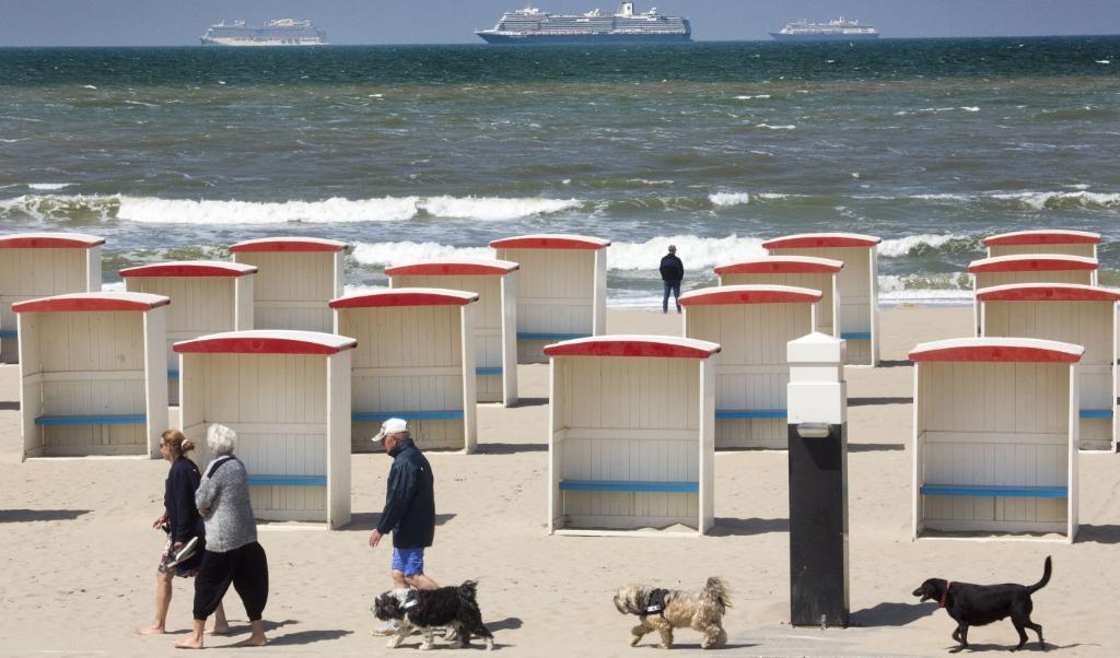 De cruiseschepen die voor anker liggen bij Katwijk.  (beeld Arie Kievit)