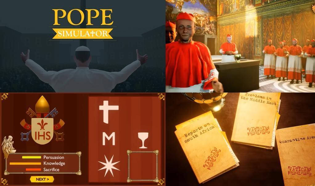 Beelden uit de trailer van de Pope Simulator.  (beeld youtube)