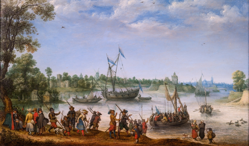 Het vertrek van de Pilgrims uit Delfshaven, 1620, A. Willaerts.  (beeld museum De Lakenhal)